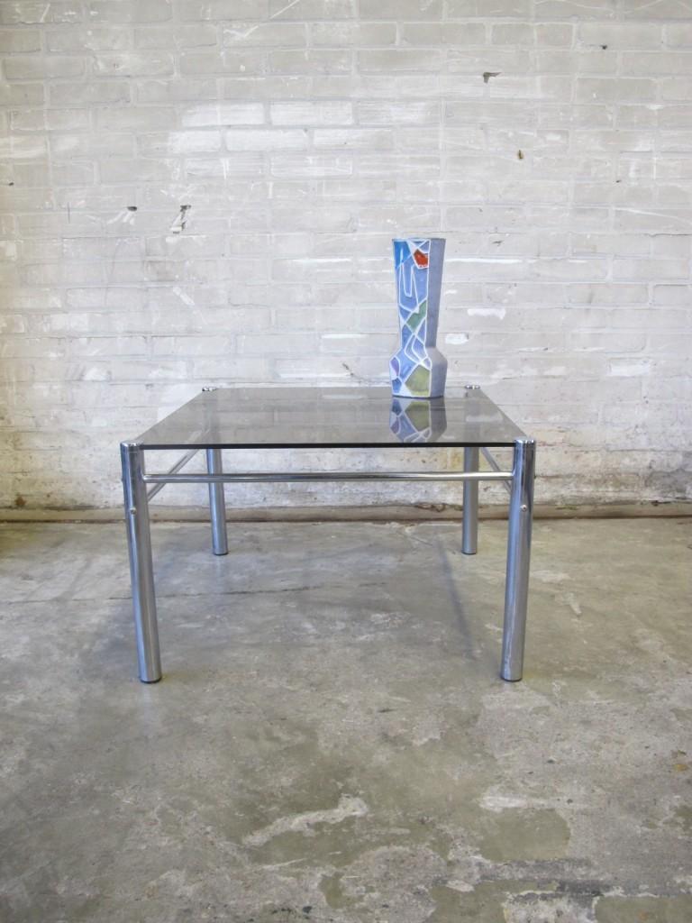 Tussen cor kitsch product spectrum pastoe stijl jaren 80 chromen metaal glazen bijzet tafeltje - Metaal schorsing en glazen ...