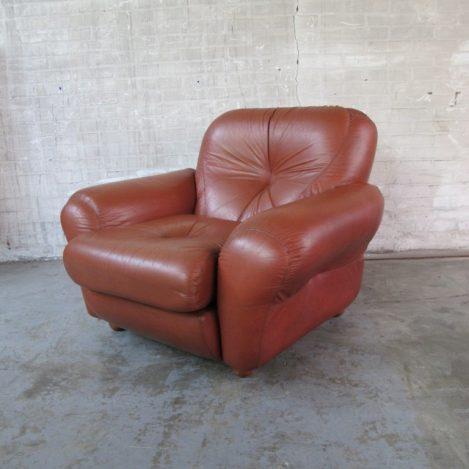 Zeldzame retro vintage leren lounge fauteuil jaren 70 De Sede stijl