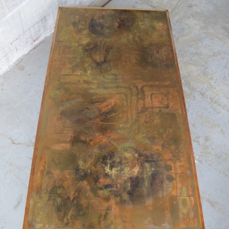 Etched Raised Brass tafel Willy Daro W.Poolkes Belgie jaren 70