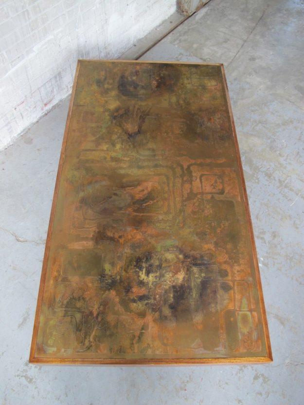 Etched Raised Brass tafel Willy Daro W.Poolkes Belgie jaren 70