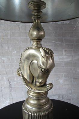 Maison Charles Jaren 70 vergulde schaakbord horse lamp