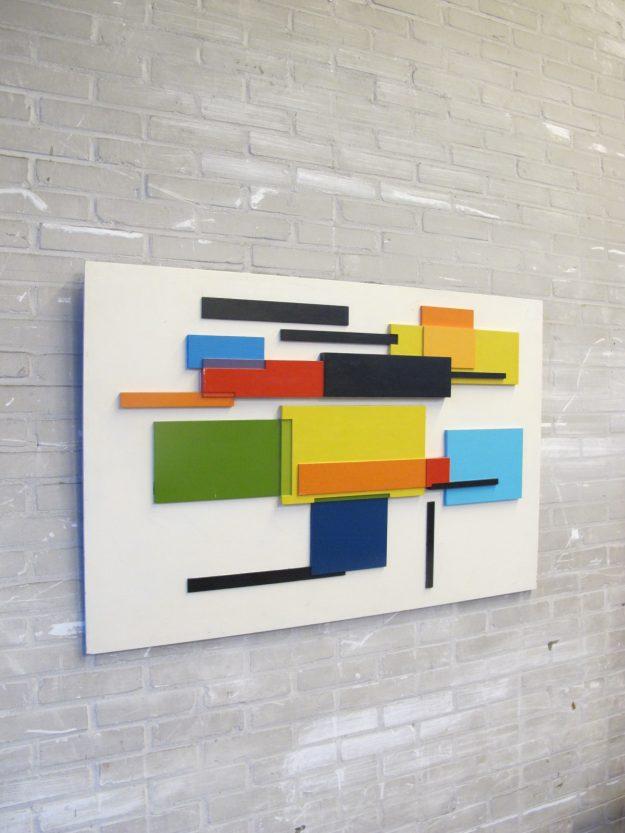 Groot schitterend houten kunstwerk wandpaneel Gerrit Rietveld stijl