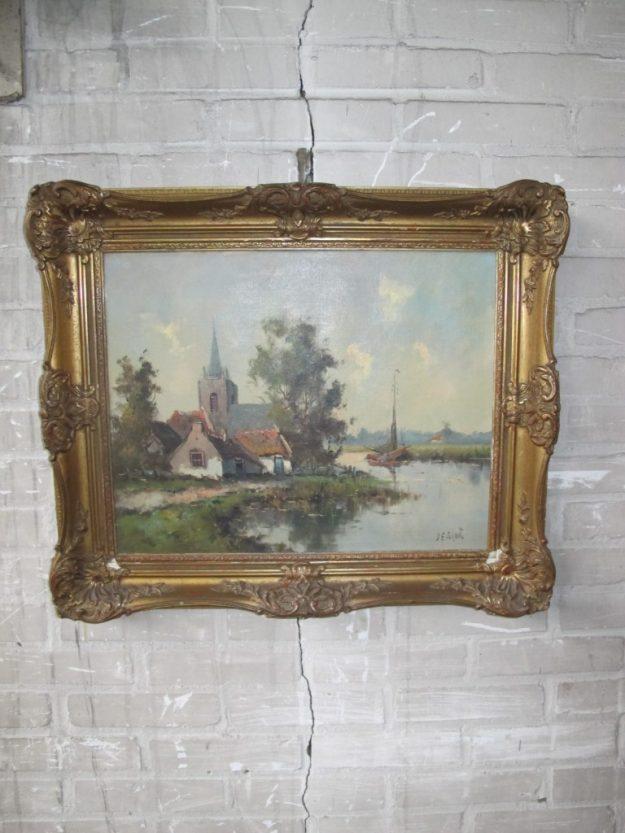 Olieverf schilderij Haagse School de Groot 50×45 cm