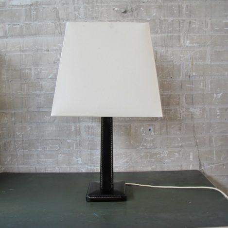Willy Rizzo stijl lederen stijlvolle tafellamp