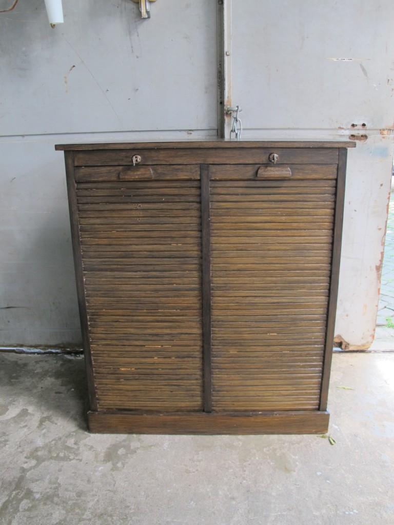 Vintage Antieke Eiken Houten Roldeur Archief Lade Kast