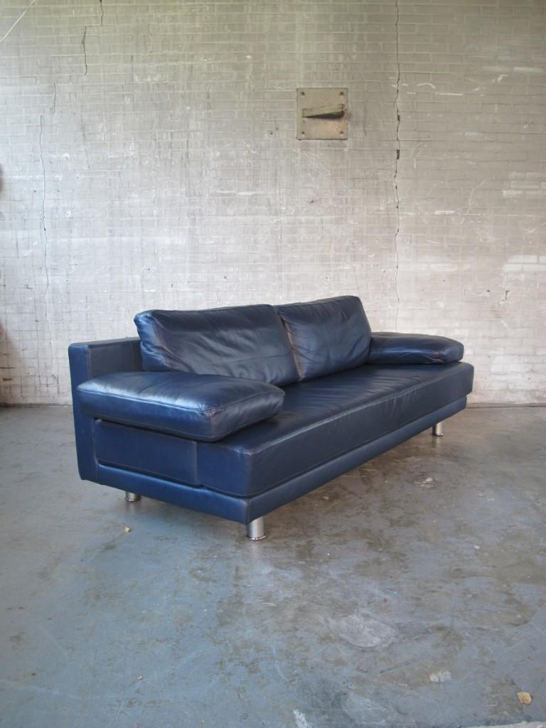 Rolf Benz Leren Bankstel.Prachtige Rolf Benz Donker Blauwe Lederen Relax Loungebank