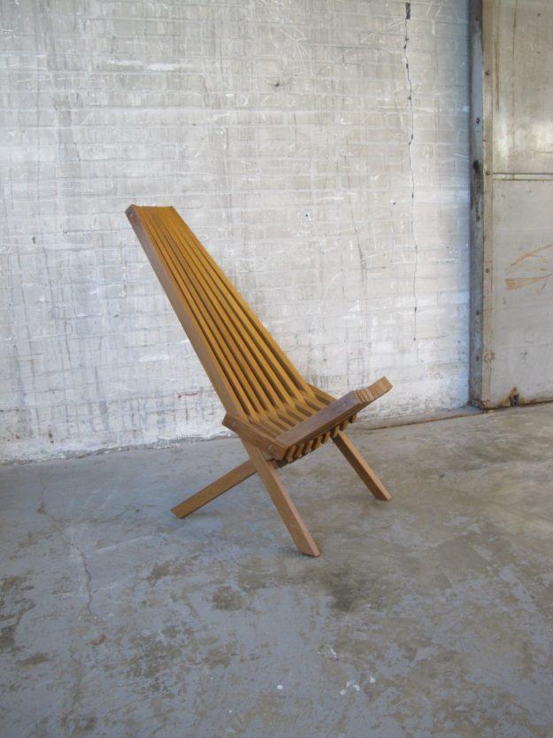 massief houten latten fauteuil