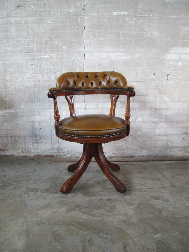 lederen Chesterfield fauteuil bureaustoel bruin