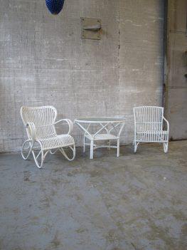 Rotan rotan fauteuiltjes tafel Rohe Noordwolde jaren 60