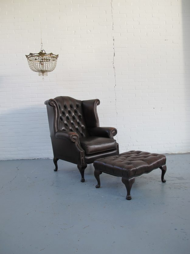 Originele Chesterfield heren oor fauteuil midsentury vintage