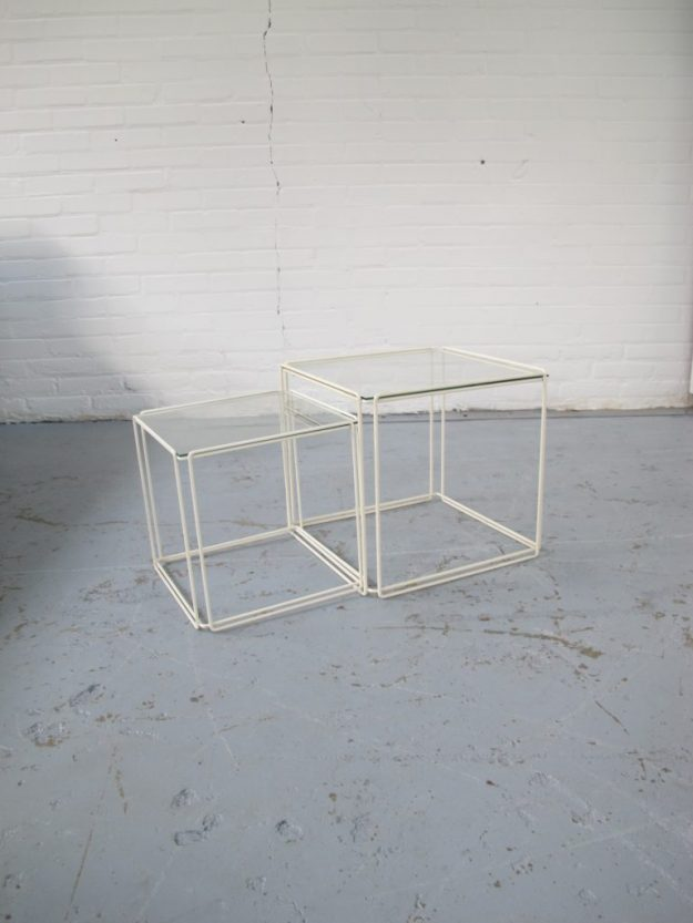 Max Sauze Isocele jaren 80 miniset nesting tables vintage midsentury