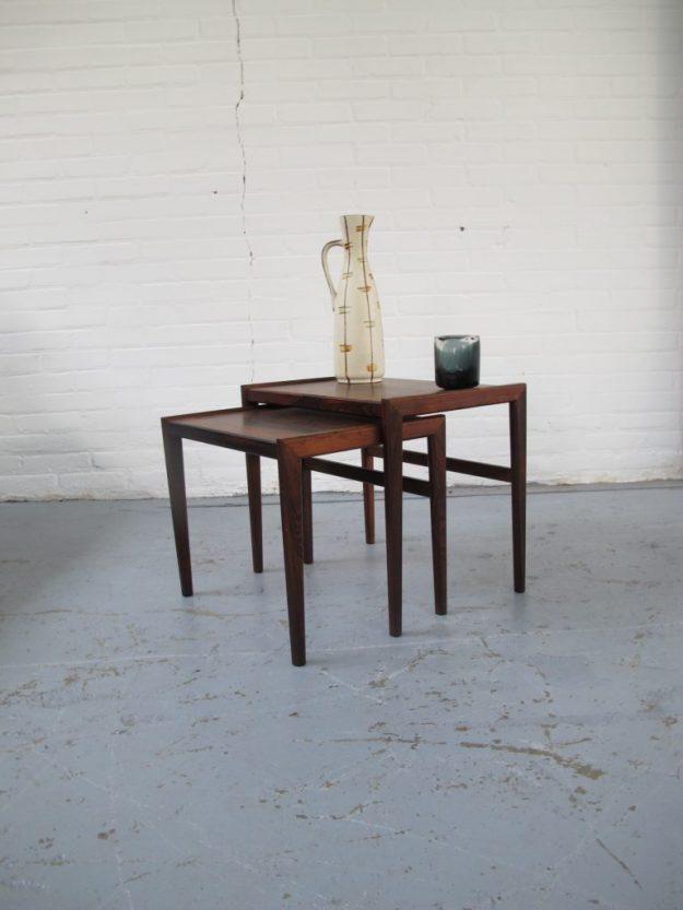 Pastoe palissander nesting tables miniset tafeltjes vintage midsentury