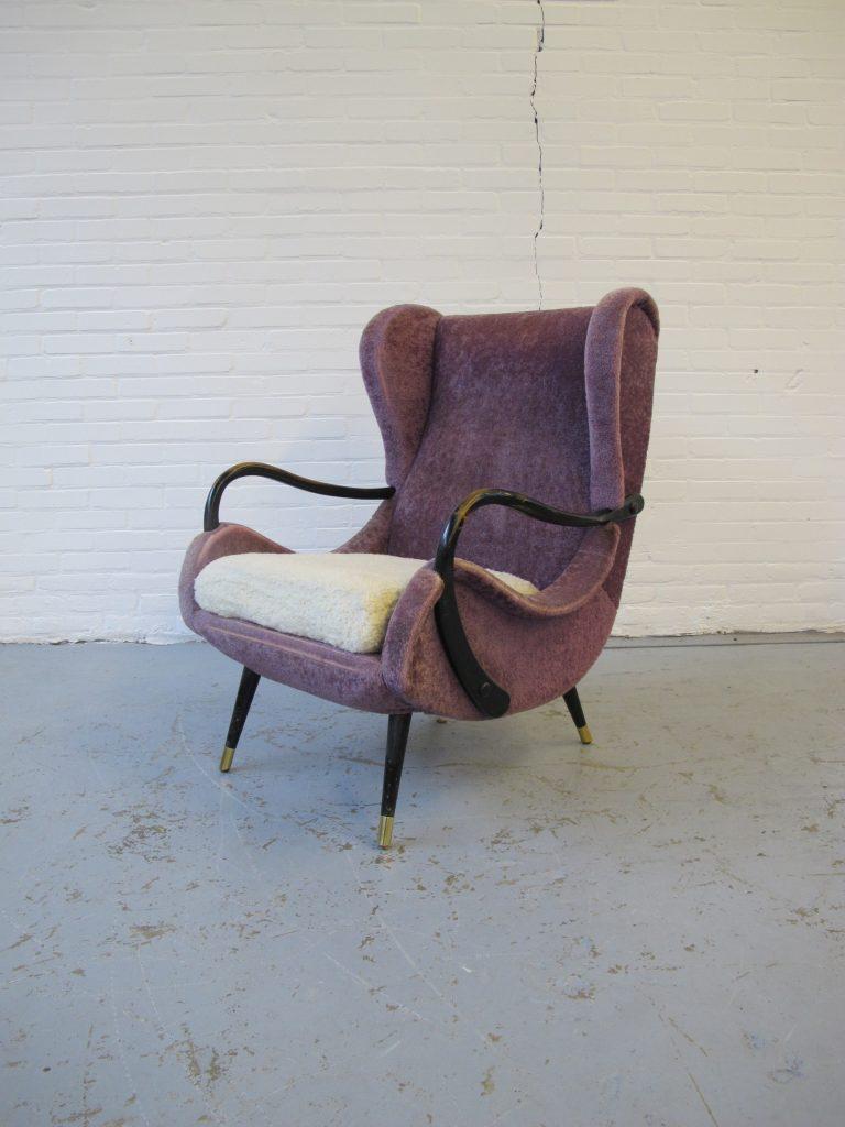 Paars stoffen fauteuil zanuso itali stijl lounge fauteuil uit de jaren 60 tweedehands kopen - Lounge stijl ...