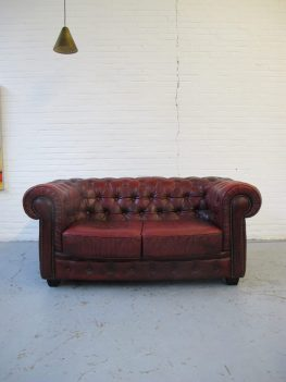 Engelse Chesterfield bank bankstel midcentury furniture vintage