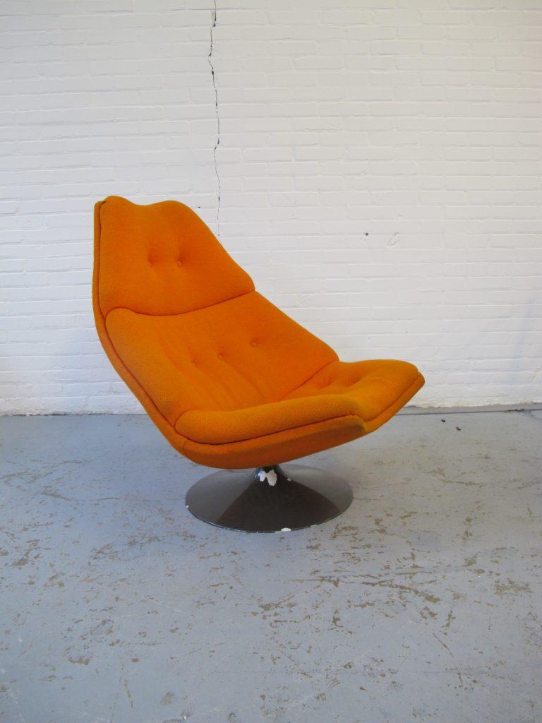 Fauteuil Oranje Stof.Oranje Lounge Fauteuil F590 Geoffrey Harcourt Voor Artifort Uit De Jaren 70