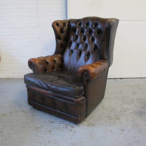 Springvale Chesterfield fauteuil bruinleder midsentury vintage