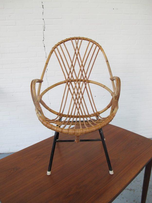 rotan fauteuil Rohe Noordwolde vintage midsuntury