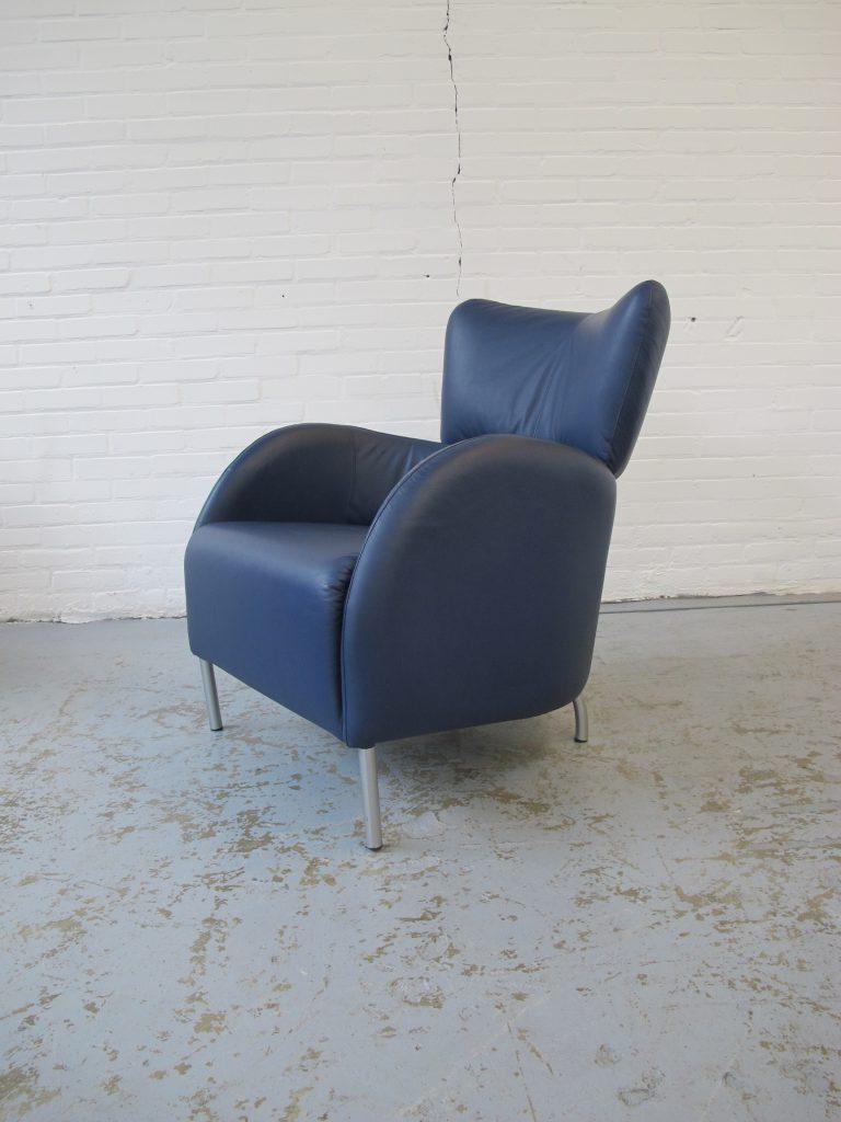 Marktplaats Fauteuils Gebruikt.Fauteuil Blauw Lederen Lounge Fauteuil Leolux Artifort Stijl Jaren 80