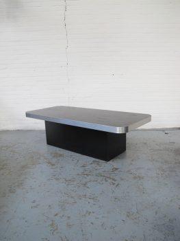 Tafel Willy Rizzo stijl in zwart wengé salontafel vintage midcenturymodern