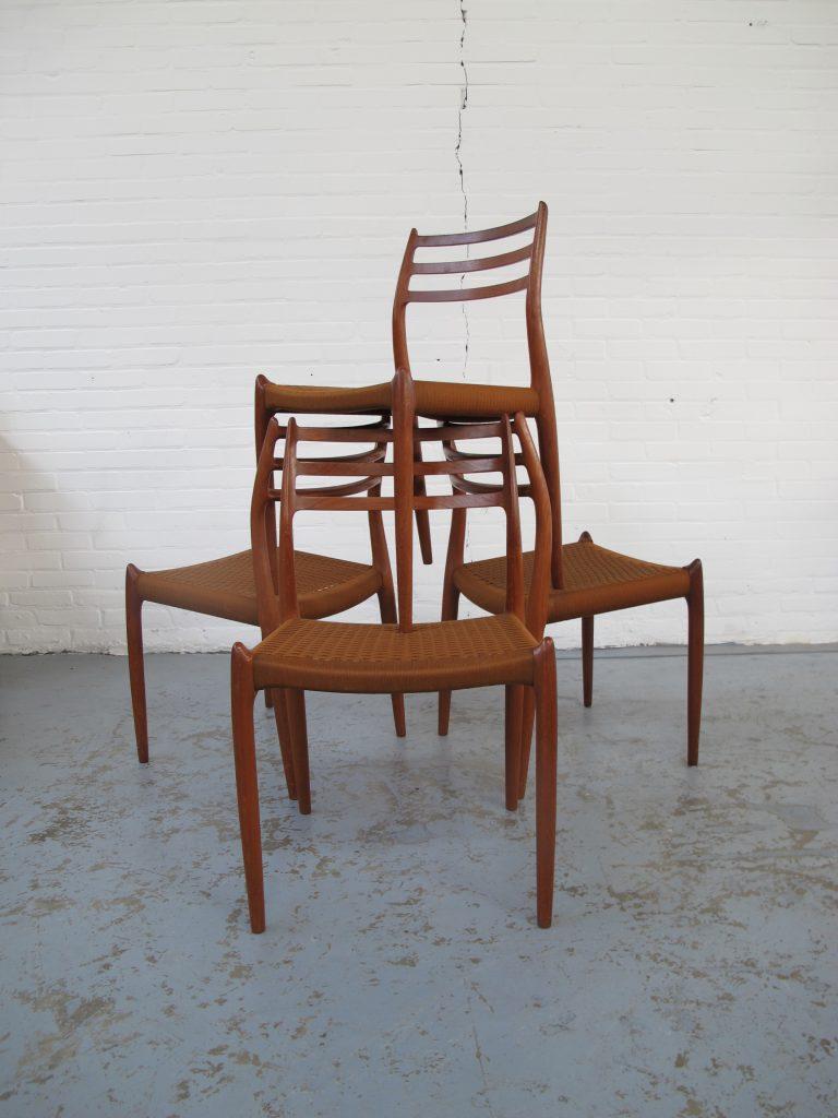 stoelen model 78 Niels O. Møller J L Møller Danmark vintage midcenturymodern