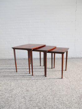 Bijzettafels miniset Nesting tables Møbelintarsia vintage midcuntury