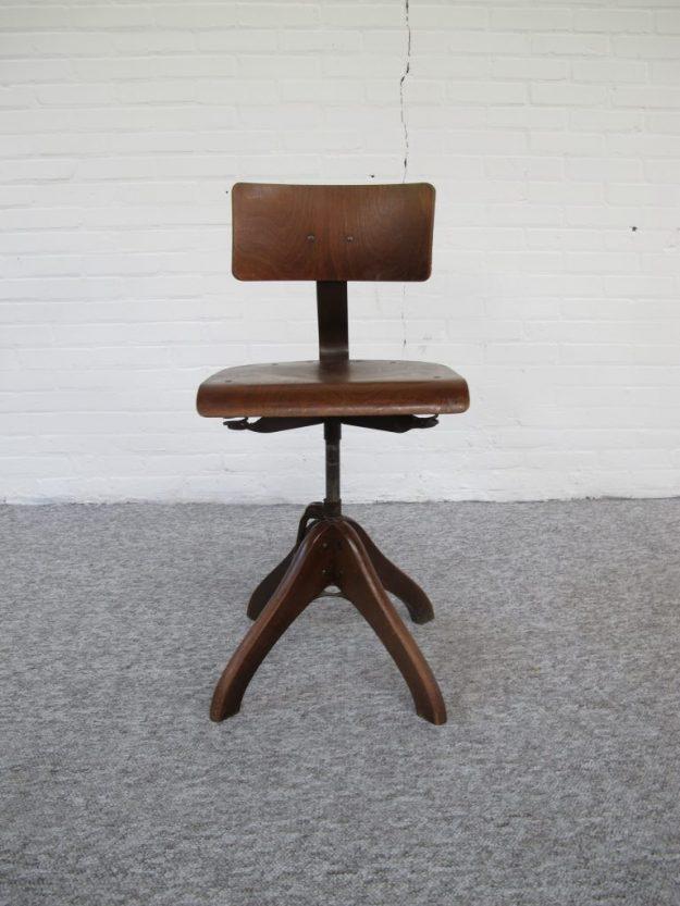 industriële kruk bureaustoel Margarete Klöber voor Polstergleich midcentury vintage