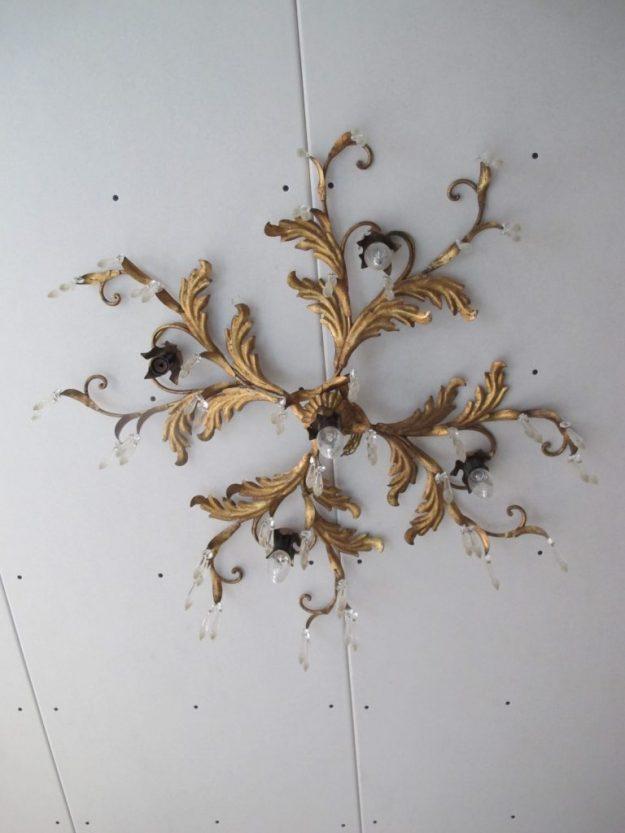 Hollywood Regency Maison Jansen barok messing plafondlamp vintage midcentury