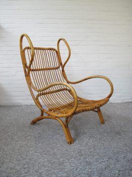 Rotan fauteuil loungefauteuil BP 16 Gio Ponti for Bonacina vintage midcentury