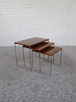 Miniset nestig tables teakhout Brabantia tafeltjes vintage midcentury