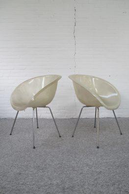 Fauteuil glasvezel fiberglas kuip fauteuils in Eames midcentury vintage
