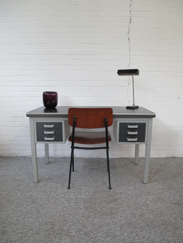 Gispen industrieel bureau vintage midcentury