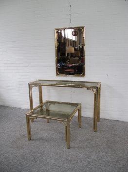 Faux brass Bambo tafels spiegel Maison Jansen midcentury vintage