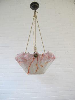 Lamp Art Deco Opaline glazen hanglamp vintage midcentury