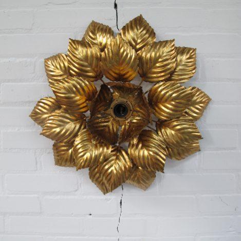 Lamp Hans Kogl Hollywood Regency brass plafond bloemenlamp vintage midcentury