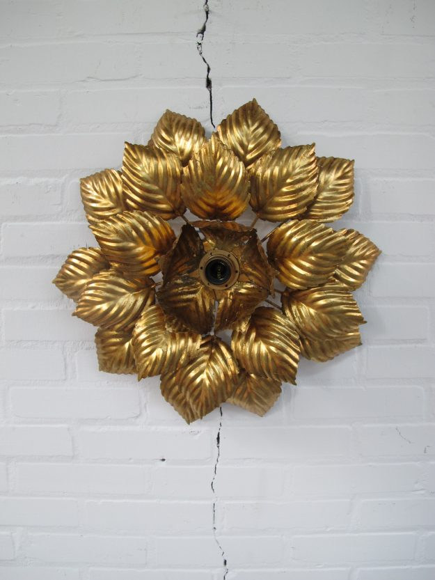 Lamp Hans Kogl Hollywood Regency brass plafond bloemenlamp vintage midcentury