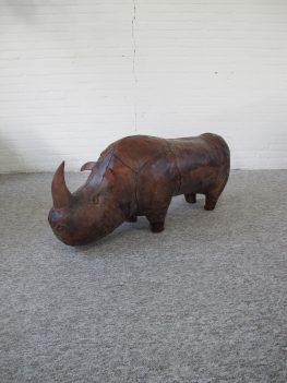 Voetenbank Dimitri Omersa footstool leather rhino midcentury vintage