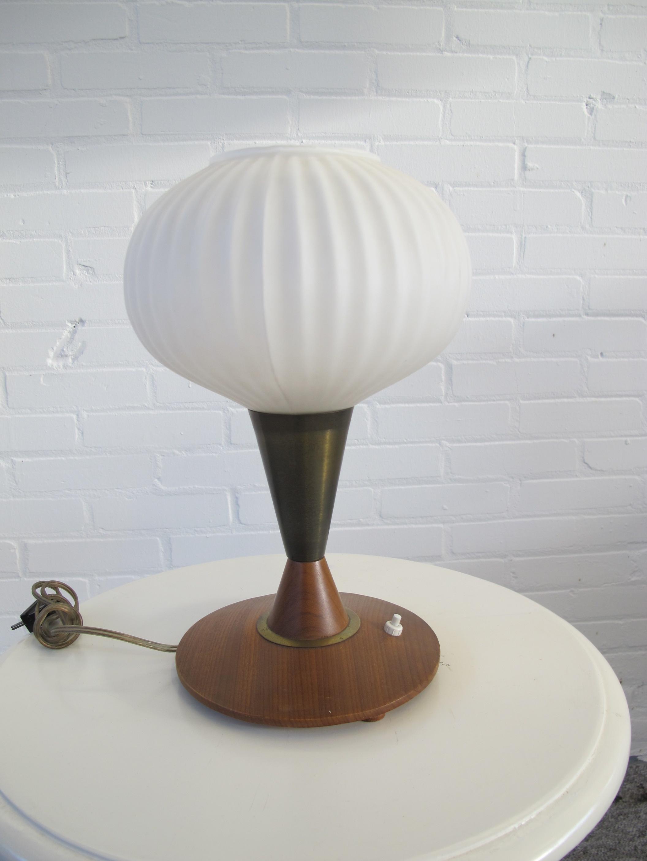 Philips Louis Kalff teakhouten glazen tafellamp vintage midcentury