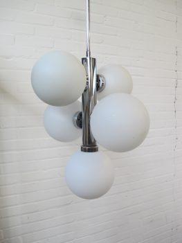 Lamp chromen glazen bollenlamp Raak Amsterdam vintage midcentury