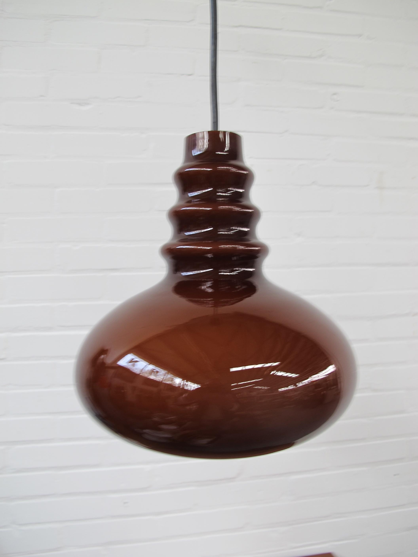 Peil And Putzler Amber glazen lampen vintage midcentury