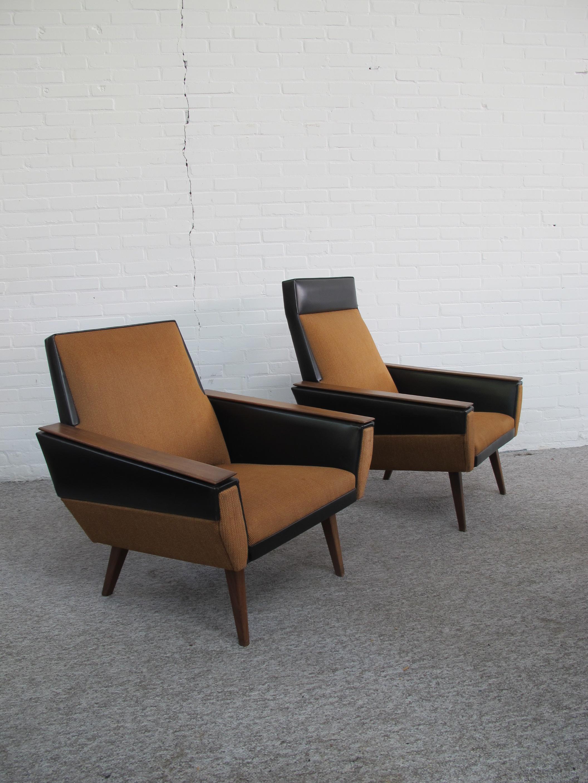Onwijs Fauteuil twee Artifort stijl lounge fauteuils met skai leder en CR-24