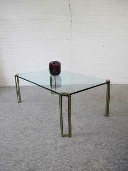 Tafel glas brass messing salontafel Peter Ghyczy vintage midcentury