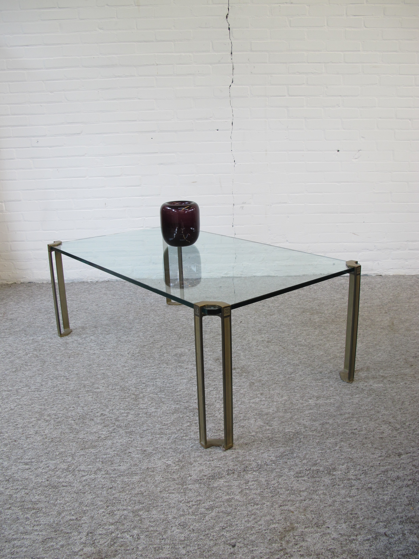 Tafel glas brass messing salontafel Peter Ghyczy vintage midcentury