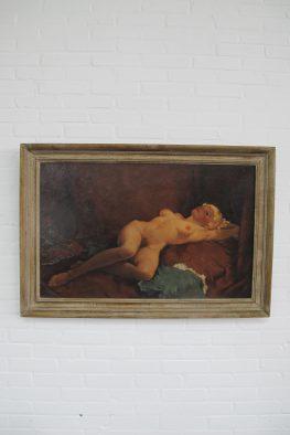 Schilderij vrouwelijknaakt kunstschilder Harry Maas vintage midcentury