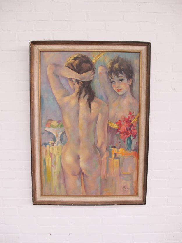 Schilderij van kunstschilder A.J. van Loon vintage midcentury