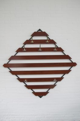 Pastoe Spectrum diagonale teakhouten kapstok coatrack vintage midcentury