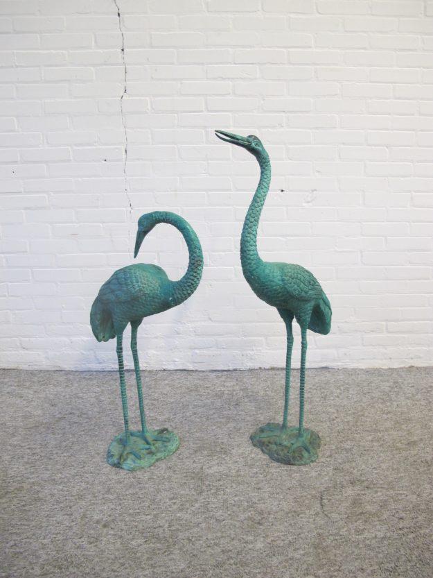 bronzen kraanvogels cranesbirds Hollywood Regency vintage midcentury
