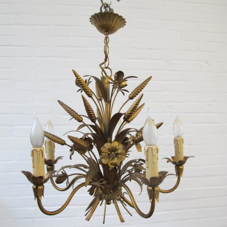 lamp Hans Kögl brass messing Hollywood Regency wheat sheaf vintage midcentury