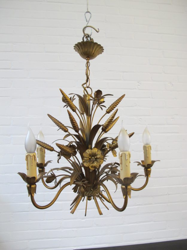 lamp Hans Kögl brass messing Hollywood Regency wheat sheaf vintage midcentury