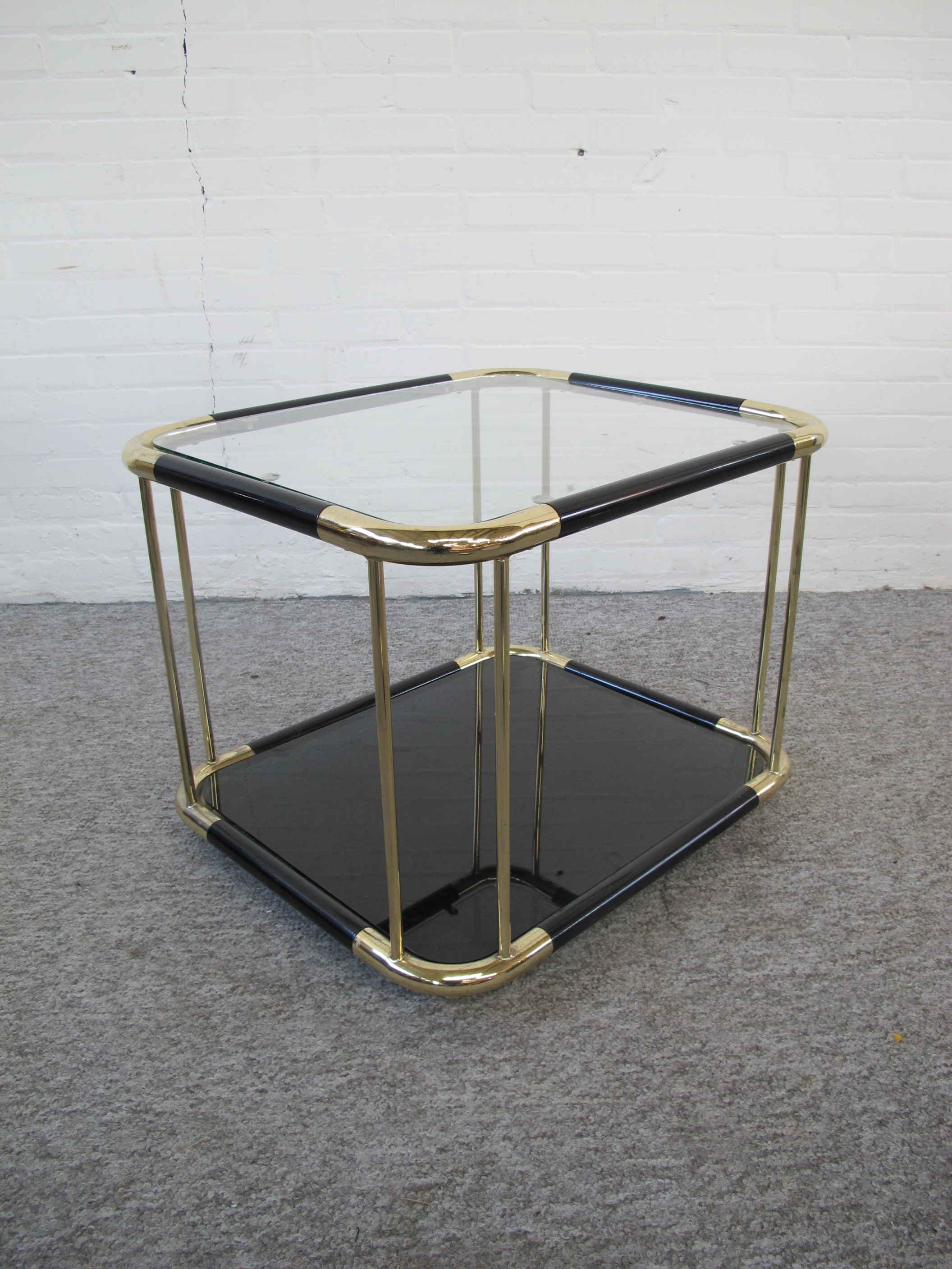 Tafel DeKnudt Willy Rizzo brass messing bijzettafel vintage midcentury