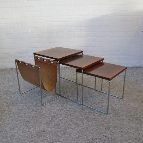 Brabantia Miniset palissanderhouten bijzettafeltjes Nesting tables vintage midcentury